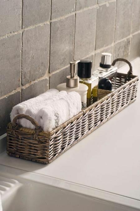 Moderne Gestaltungsideen Flechtkorb Anwendung Im Badezimmer Aufbewahrung  Von Kosmetika Handtücher