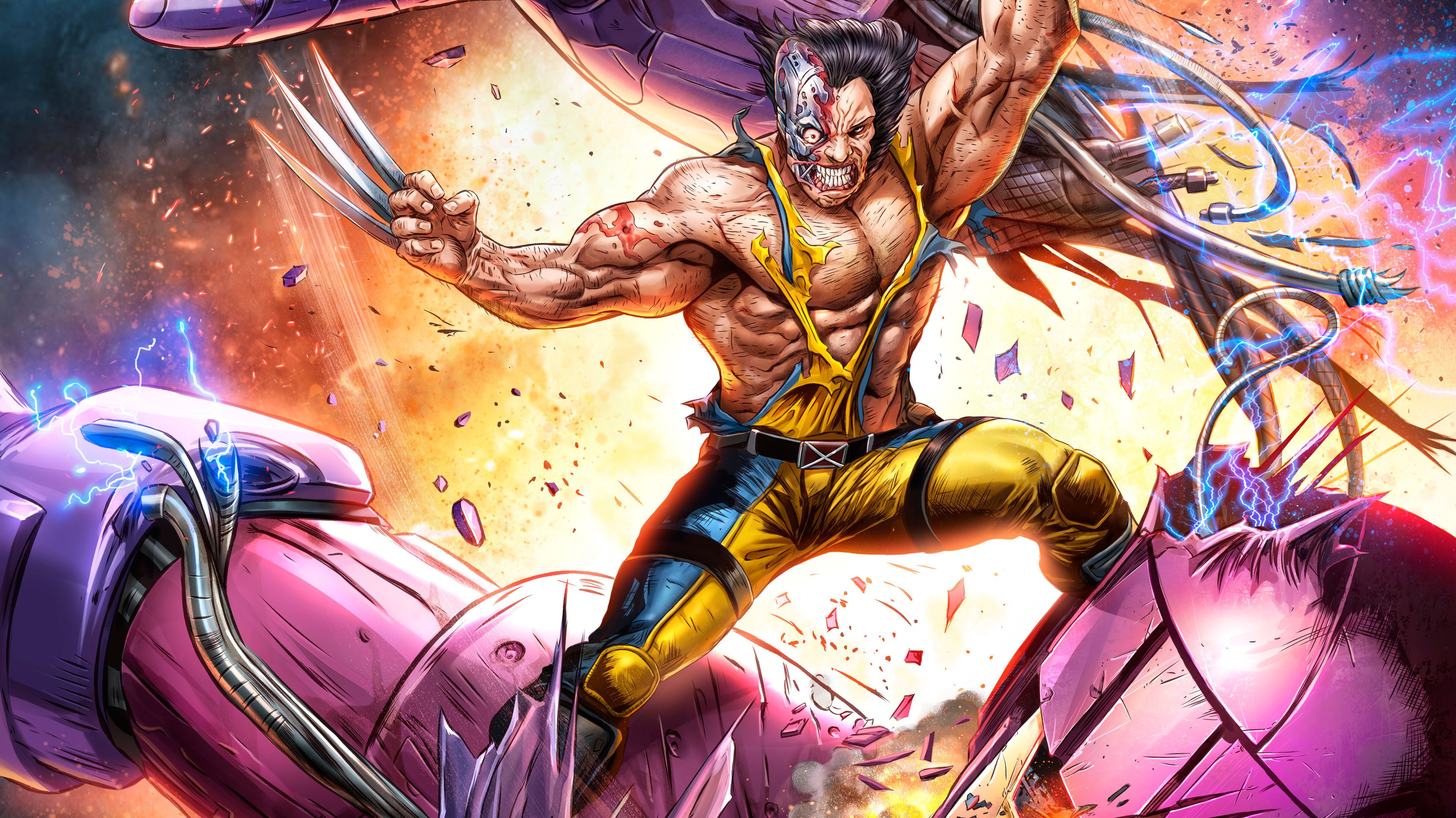 Wolverine Vs Sentinel Artwork 5k Marvel Wallpaper Art Wallpaper Hero Wallpaper