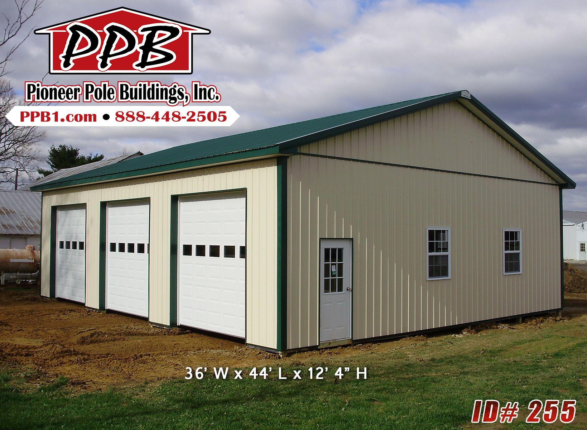 3 Car Garage With Center Door 22114sl: Pin By Pioneer Pole Buildings, Inc. On Garages