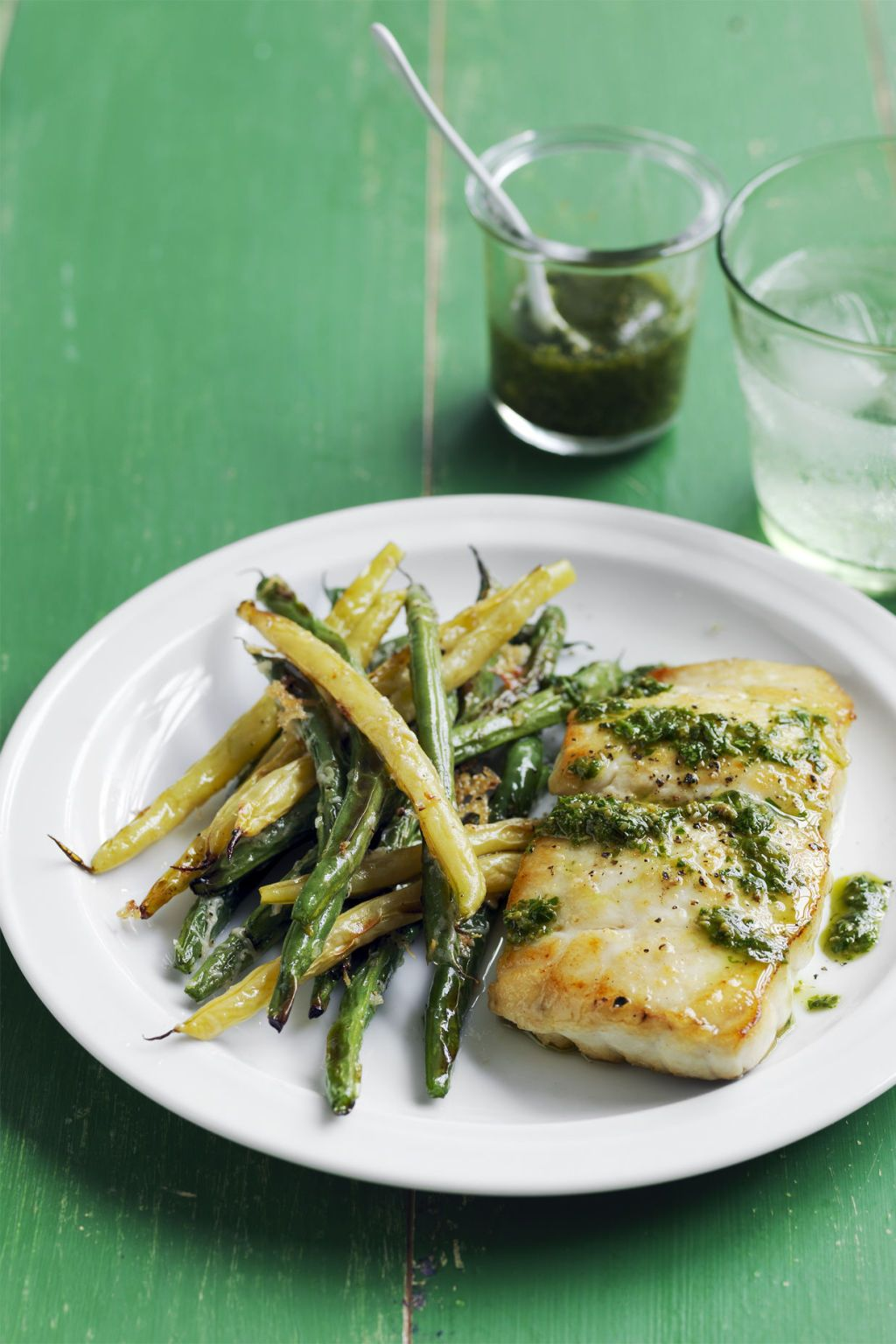 Change to pesto cod with olive oil Parmesan asparagus