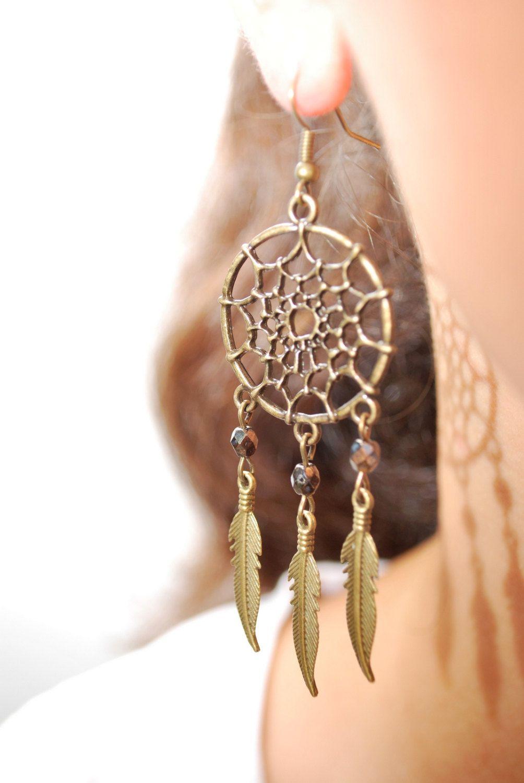 Dream Catcher beads earrings boho earrings hippie earrings summer earrings feather earrings bohemian earrings gypsy. Dreamcatcher. (15.00 EUR) by Estibela