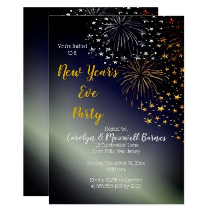 fireworks and stars night sky new years eve party card