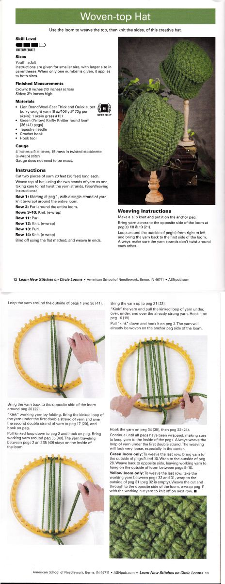 Learn New Stitches on Circle Looms by Anne Bipes: Woven-top Hat ...
