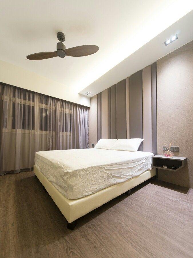 Master Bedroom Hdb master bedroom with cushion headhead feature wall. vinyl flooring