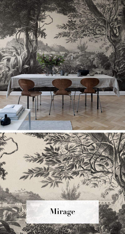 Papier peint forêt, pour le salon