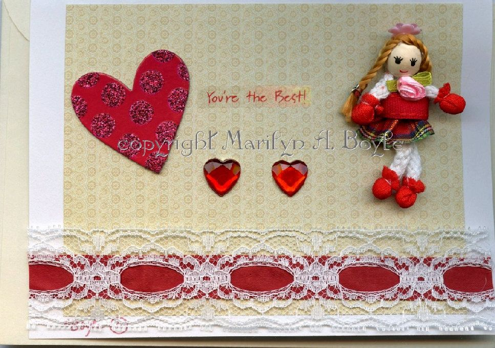 HAND MADE VALENTINE Card; red ribbon lace, red hearts, minitature doll, removable, envelope.scrapbooking items by OriginalSandMore on Etsy