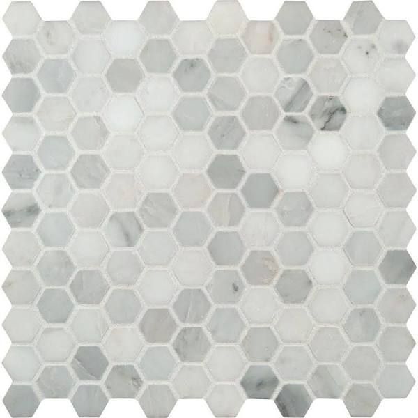 MS International Greecian White Hexagon 12 in. x 12 in. x 10 mm Polished Marble Mesh-Mounted Mosaic Tile, White/Polished