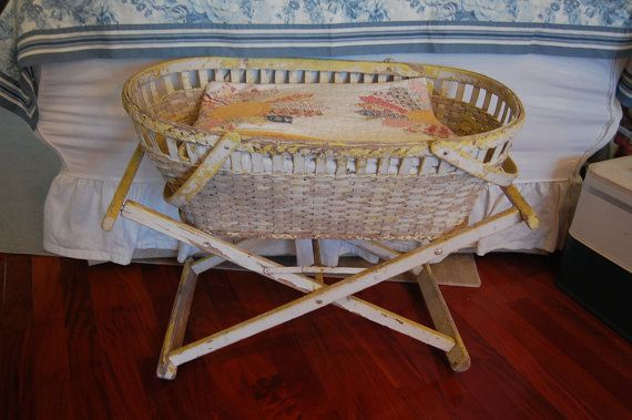 Vintage Wicker Bassinet With Stand On Wheels Vintage Baskets Bassinet Wicker