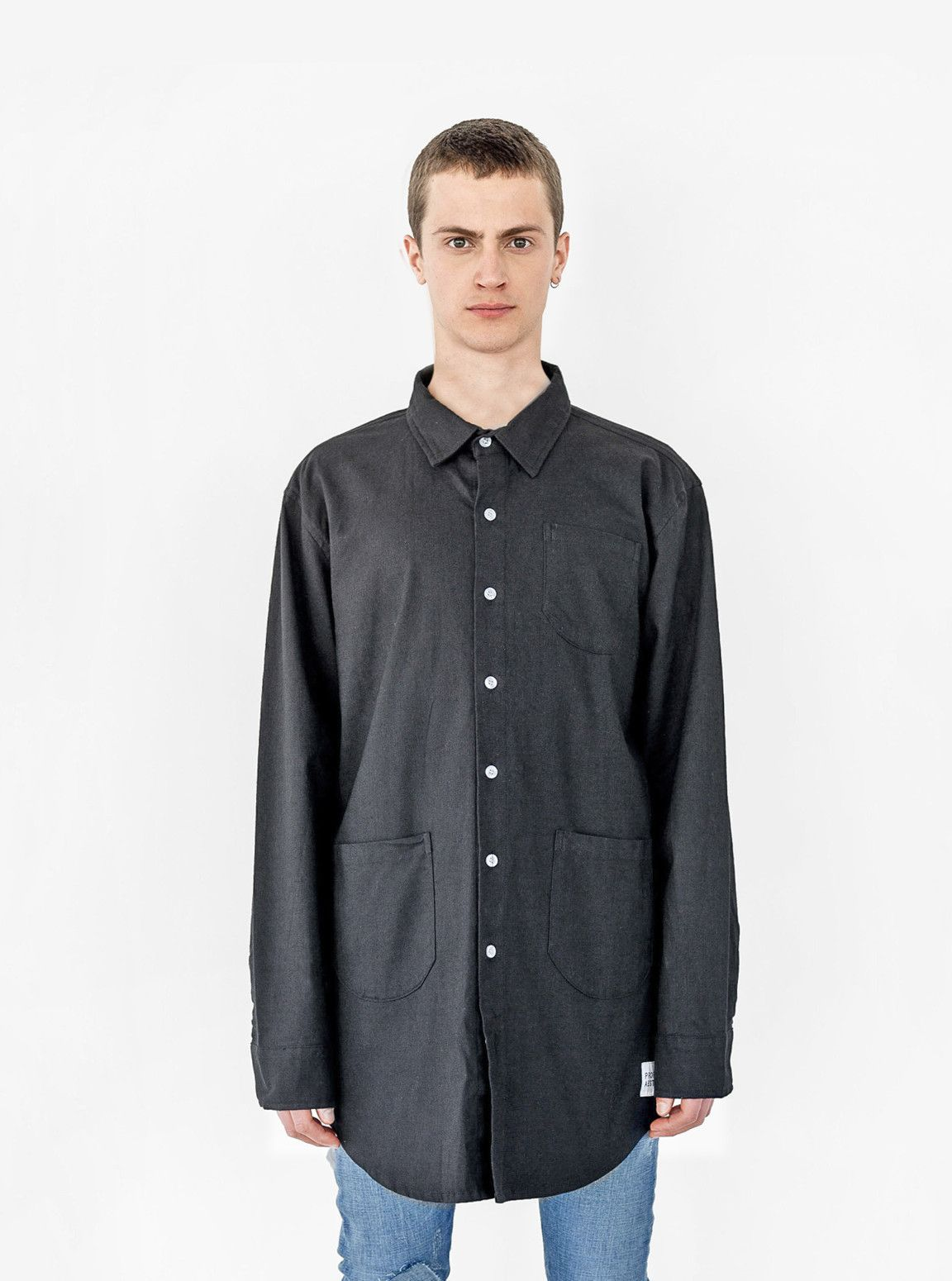 Elongated Button Down Canvas Shirt in Black | Shirts, Gardens and ...