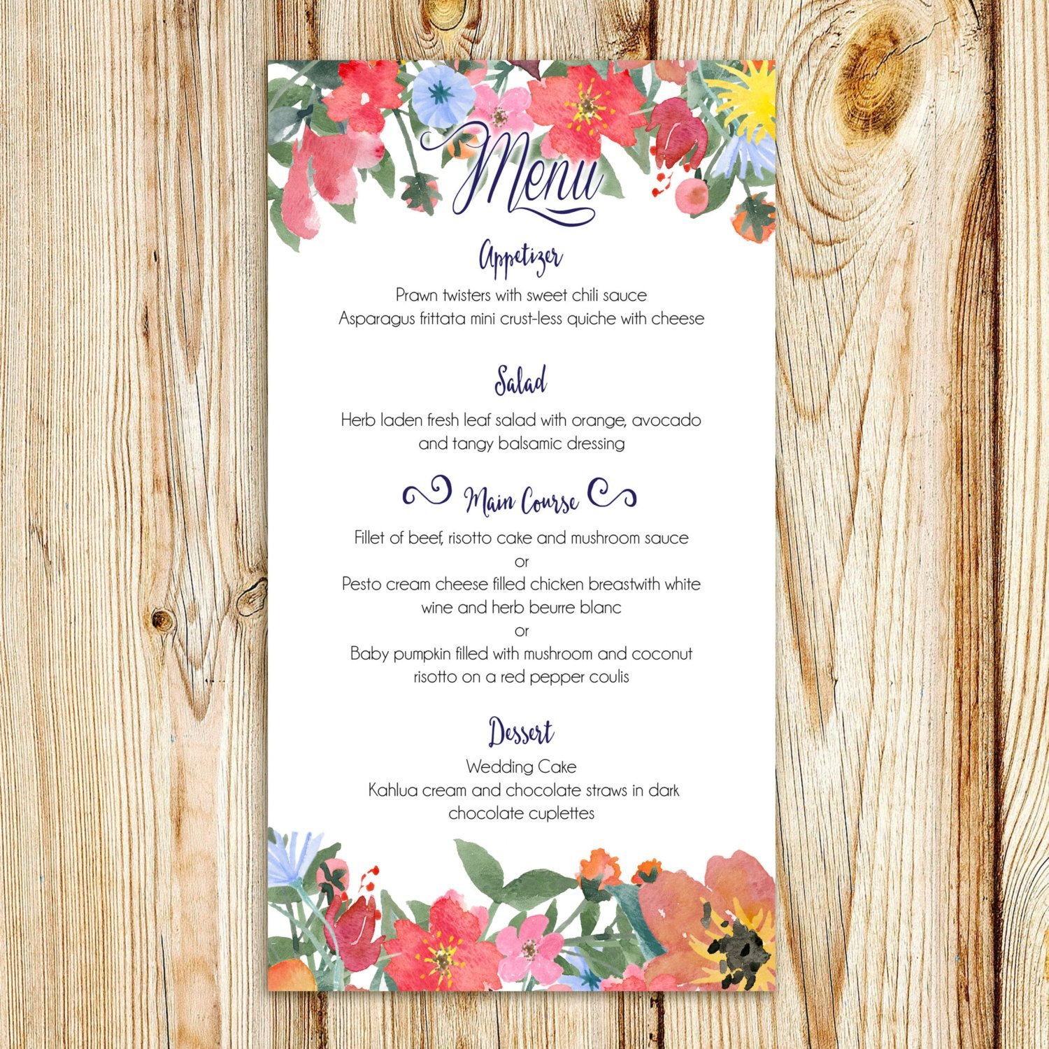 Printable Wedding Menu Digital File Customizable Watercolor