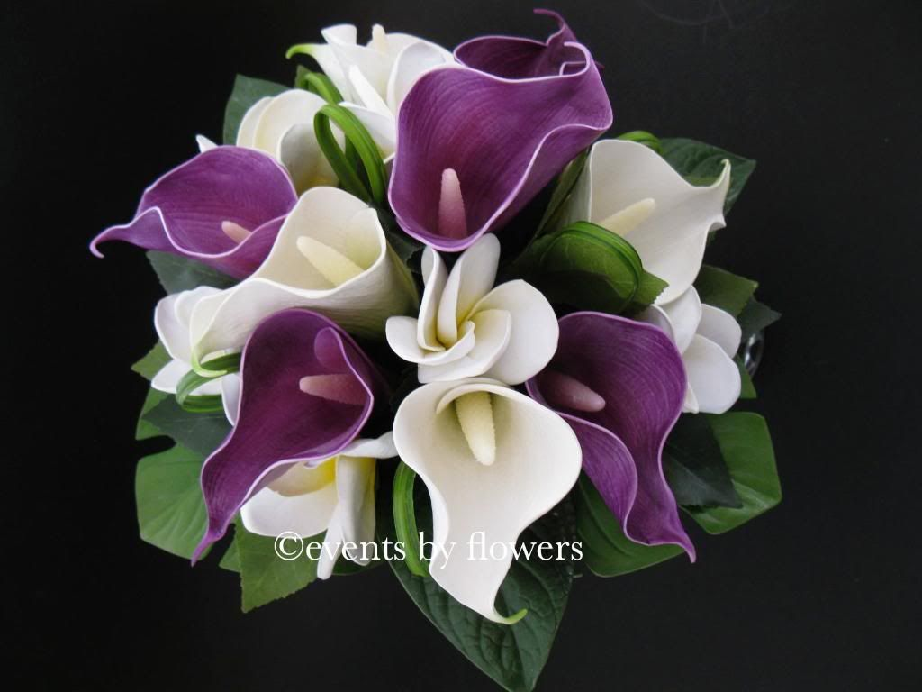 Purple calla lily white plumeria frangipani tropical wedding