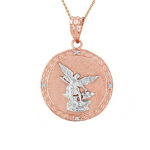 This stunning 14k gold medallion diamond pendant necklace depicts this stunning 14k gold medallion diamond pendant necklace depicts st michael the archangel slaying the devil one of the most recognized saints mozeypictures Gallery