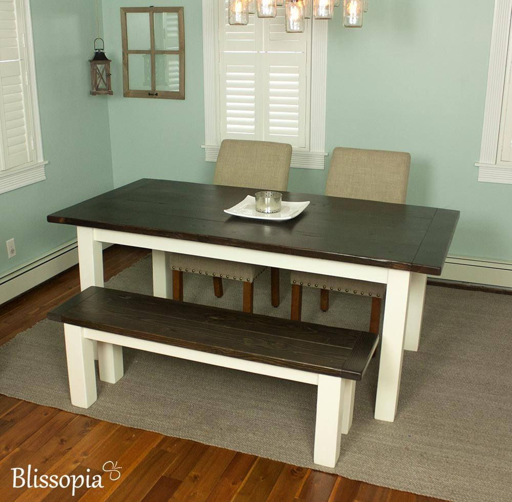 Farmhouse dining table with white legs rustic modern