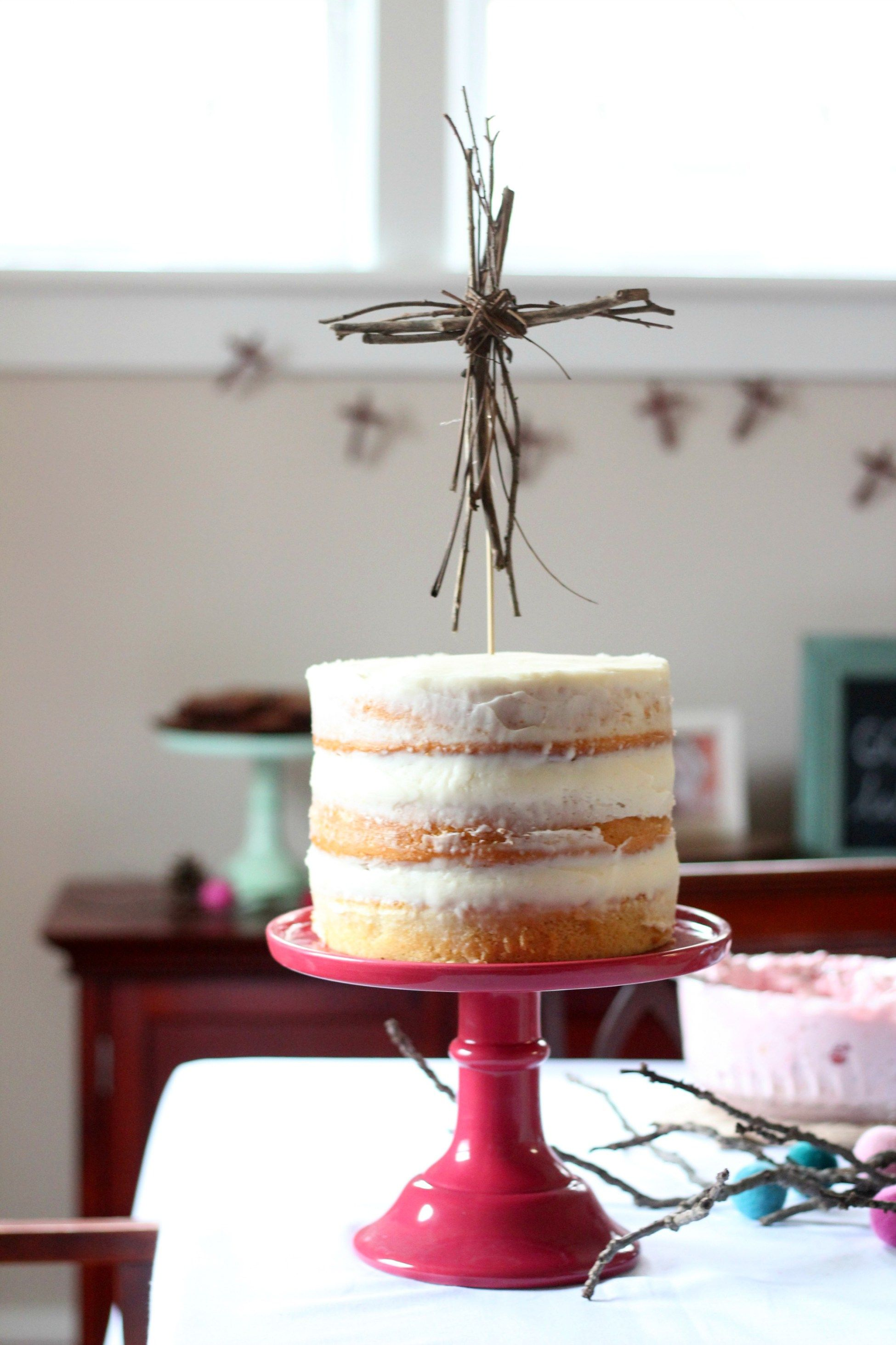Winter Baptism Celebration - Cross Cake Topper  Winter Woodland Christening Cake