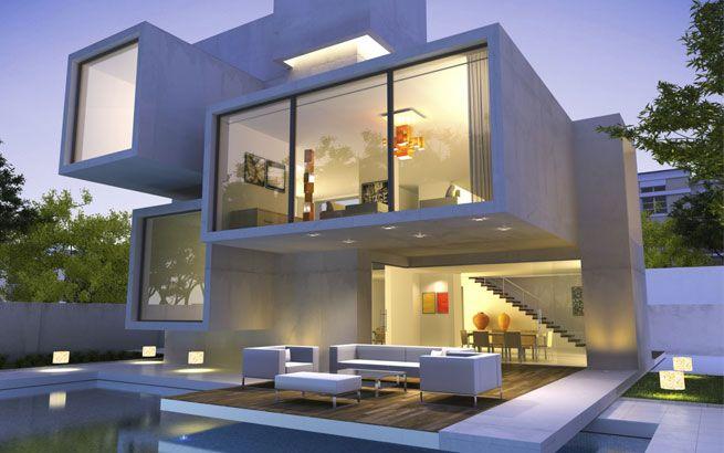 Perfekt Moderne Architektur: Kubus Villa Mit Flachdächern Und Pool