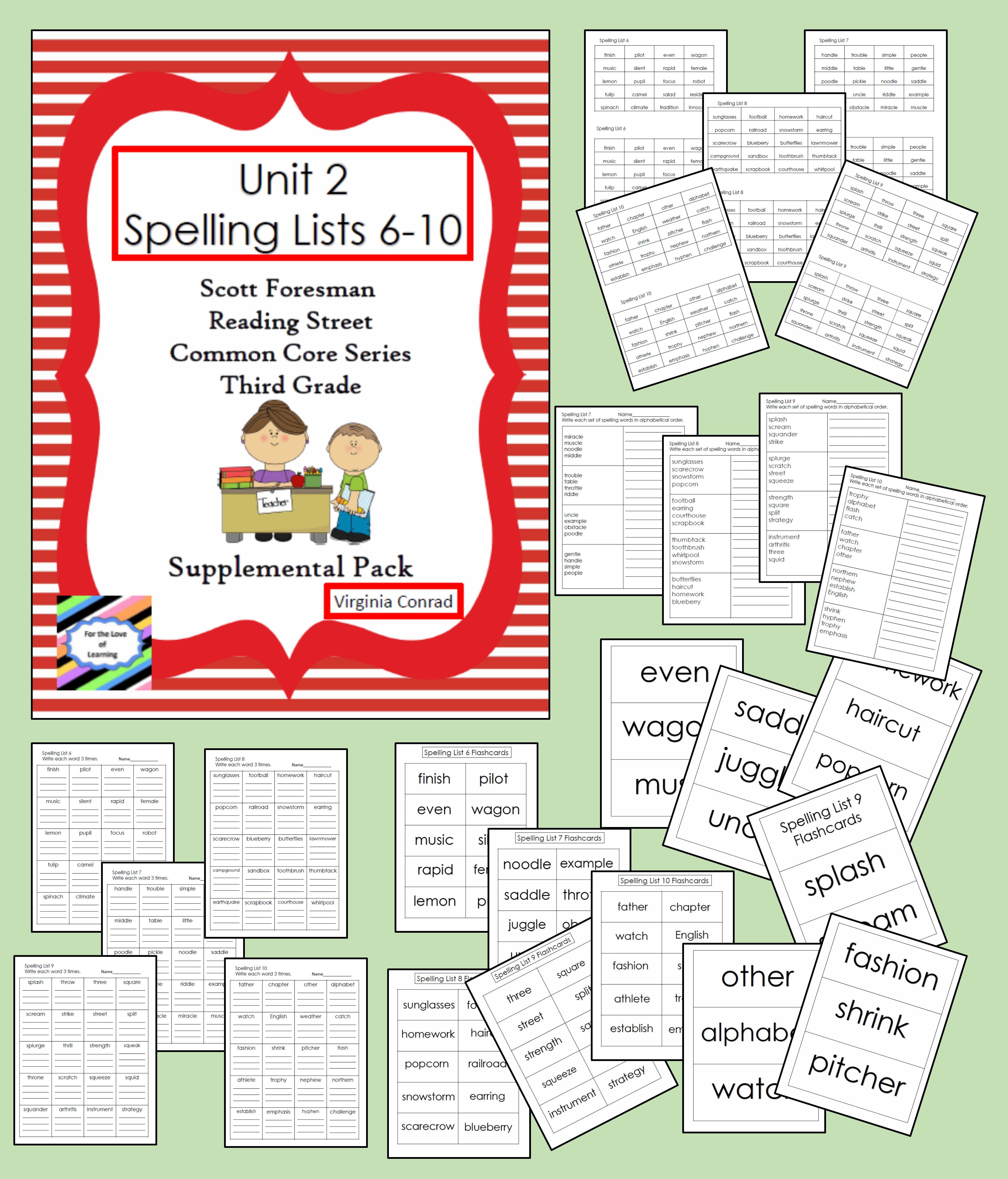 Spelling Lists 6 10 Supplemental Packet Reading Street