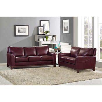 toscano 2 piece top grain leather set sofa loveseat only rh pinterest com