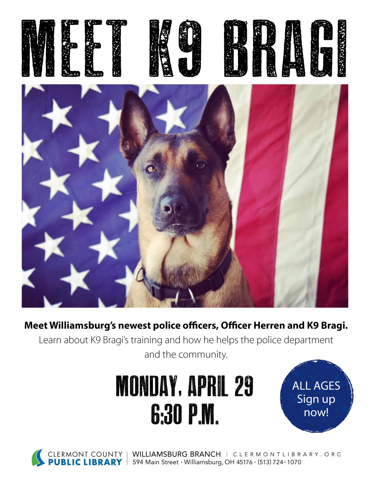 Bring The Kiddos To The Williamsburg Branch Library To Meet K9