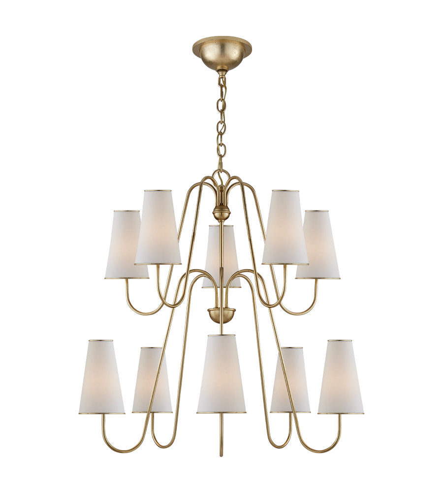 Visual Comfort ARN 5052G-L AERIN Modern Montreuil Chandelier in Gild with  Linen Shades - Visual Comfort ARN 5052G-L AERIN Modern Montreuil Chandelier In