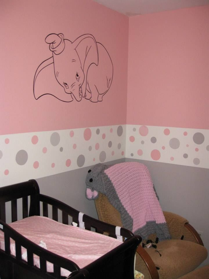Baby girls pink and grey nursery with baby dumbo little for Pink and grey kids room