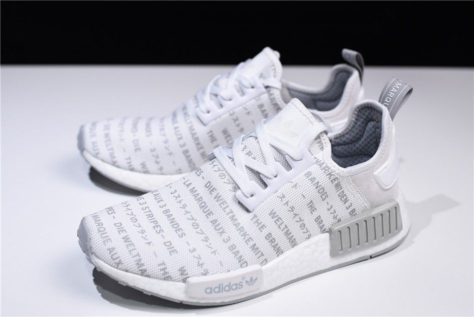 """edddb9513 2018 New S76518 adidas NMD R1 """"Whiteout"""" FTWR White CH Solid Grey For"""