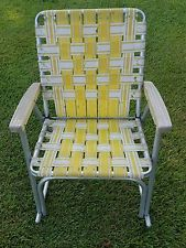 Vintage Webbed Aluminum Lawn Chair Folding Yellow White Rocker Rocking Chair