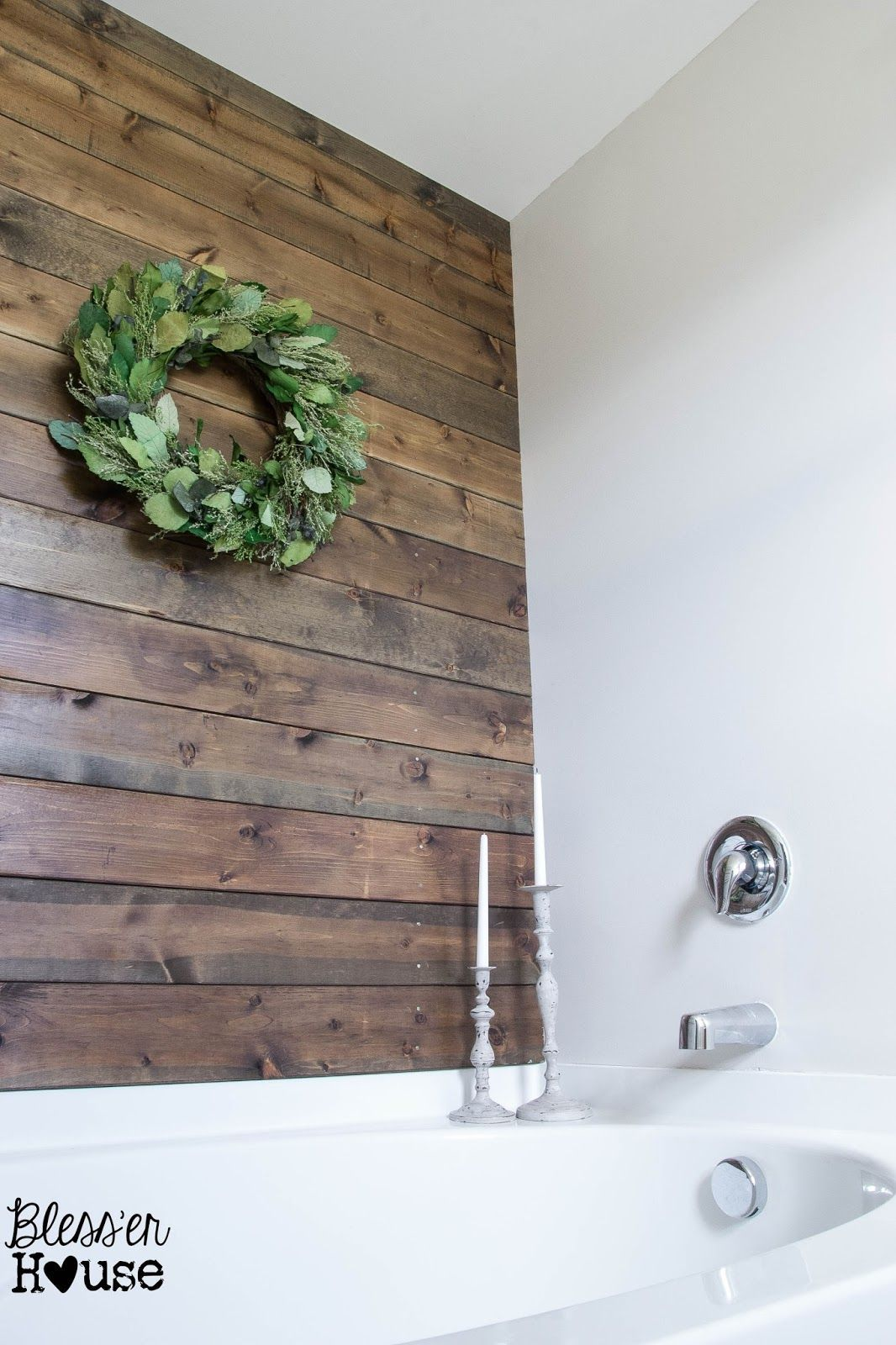 Bless Er House How To Install A Plank Wall In A Bathroom Plank Wall Bathroom Plank Walls Wood Plank Walls
