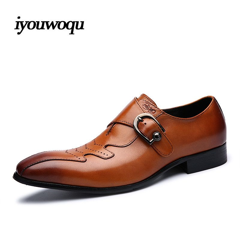 Fashion Brand Genuine Leather Men Dress shoes 2017 New High-quality luxury men's shoes Business Plus size Gentleman Formal Shoes