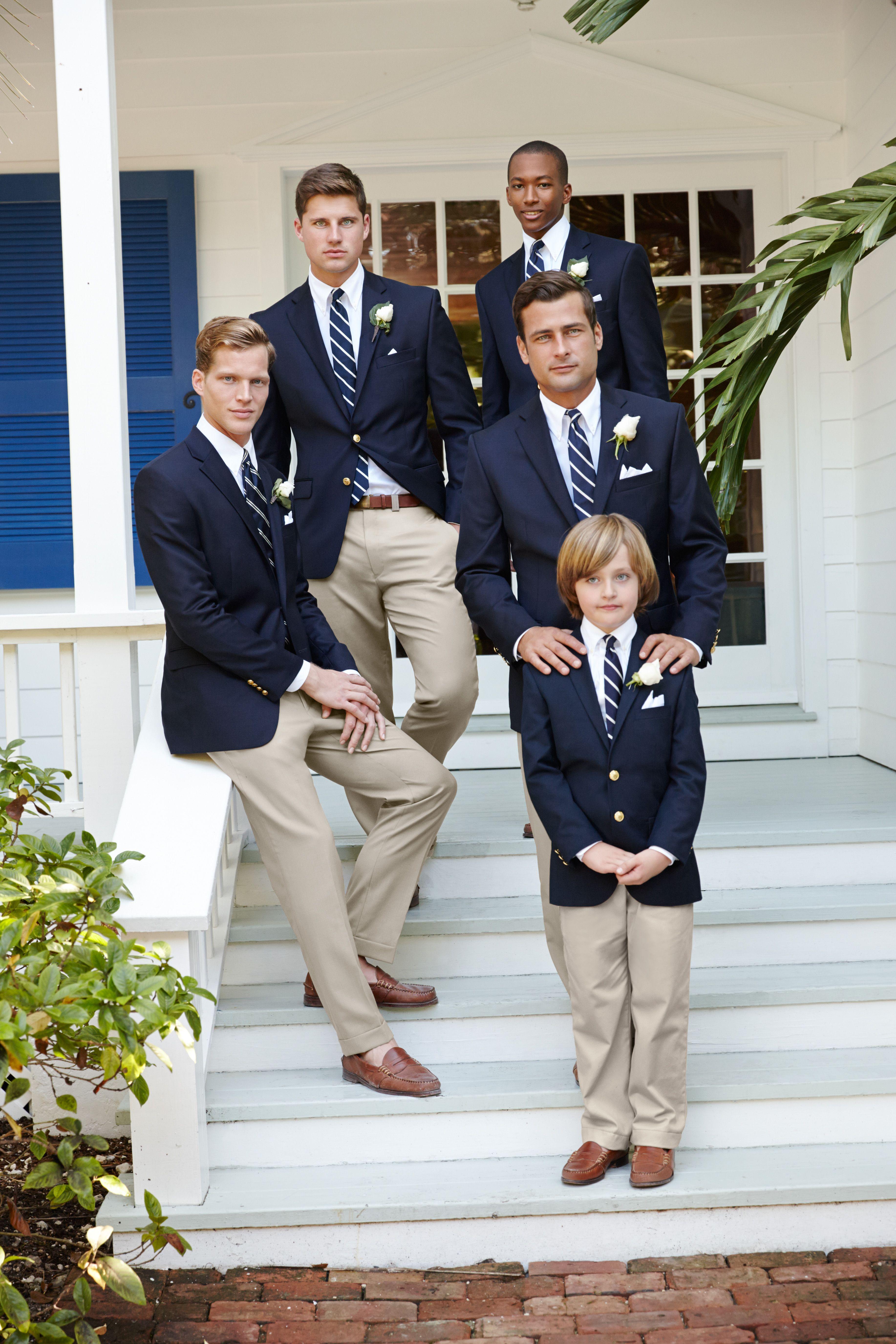 Lauren Ralph Lauren Wedding: Navy suit jackets have a classic charm for outdoor weddings.