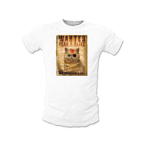 Wanted Chat De Schrodinger T Shirt Homme Coton Blanc Tshirt