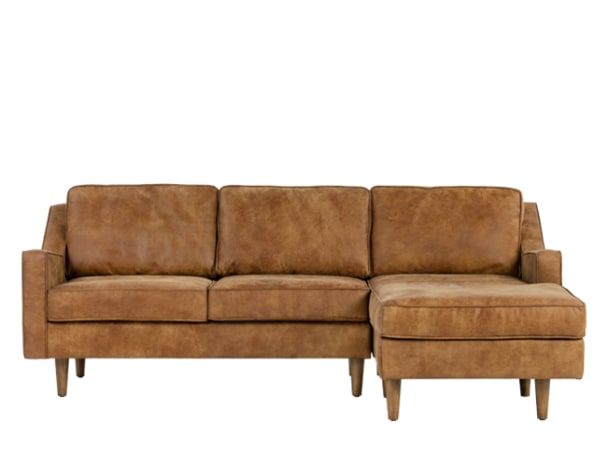 Dallas Right Hand Facing Chaise End Sofa Outback Tan Premium Leather