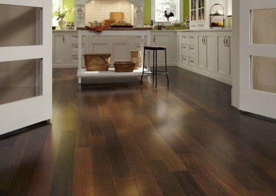 Waterproof wood flooring in a white kitchen | Flooring Ideas | Floor ...