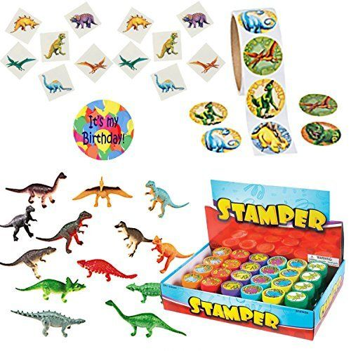 Dinosaur Party Favors for 24 - 72 Mini Dinosaurs, 24 Dinosaur Stampers, 72 Dinosaur Tattoos, 96 Dinosaur Stickers and 1 Birthday Sticker (Bundle of 5 items) Total 265 pieces Party Supplies