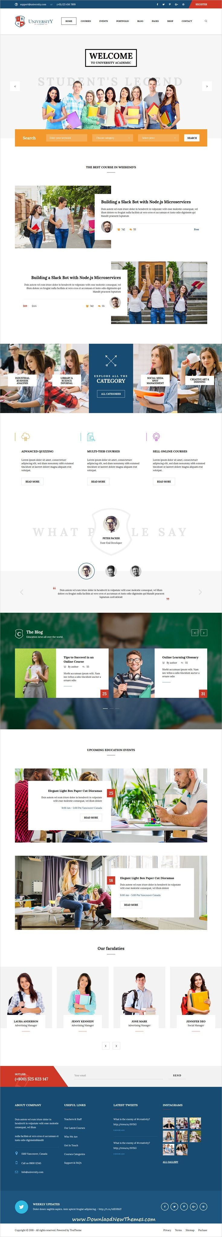 University Is Clean And Modern Design 6in1 Responsive Bootstrap Html5 Theme For University College Online Cours Education Web Layout Design Online Courses