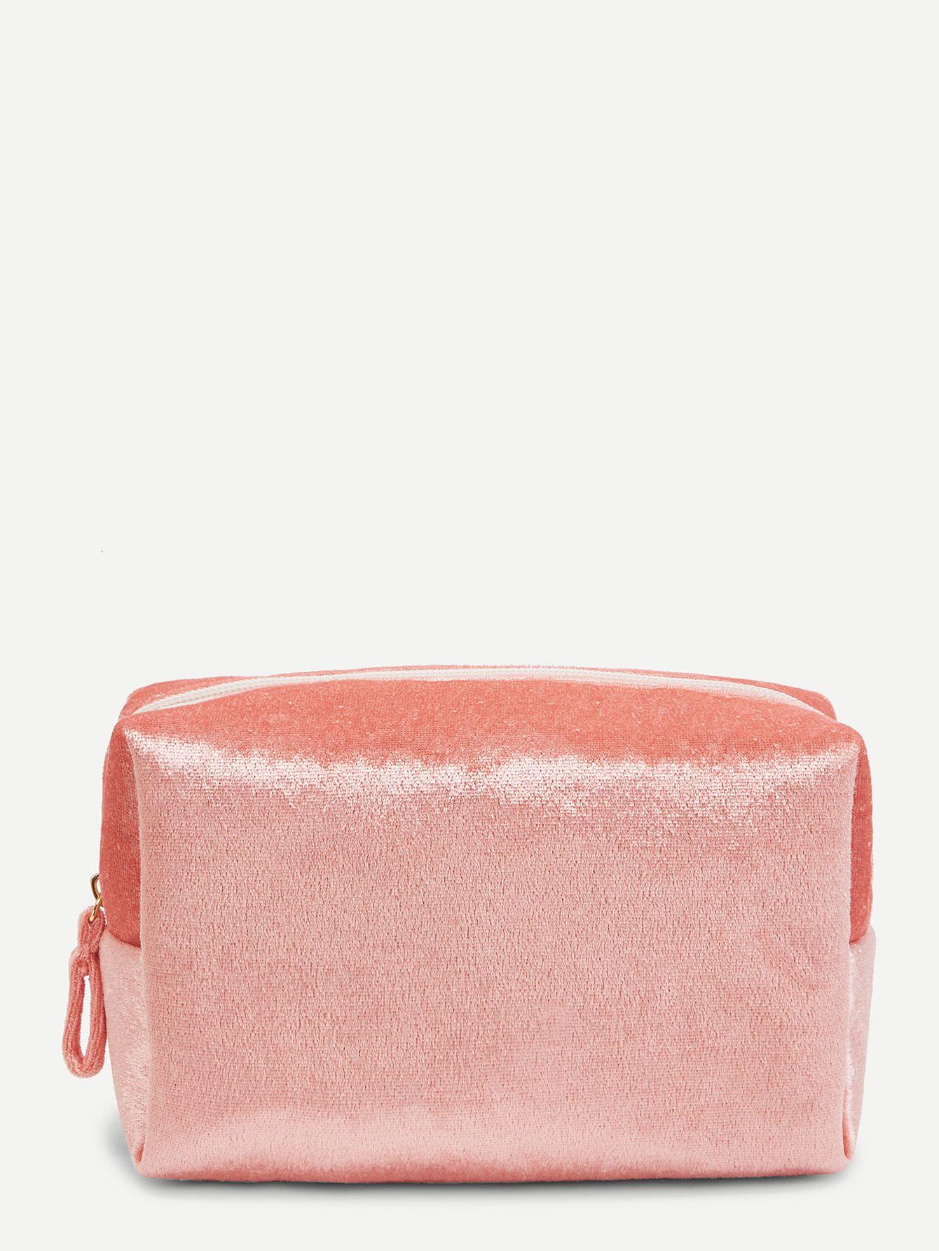 793f23a1a9b6 Velvet Zipper Makeup Bag -SheIn(Sheinside) | Stuff to buy I want ...