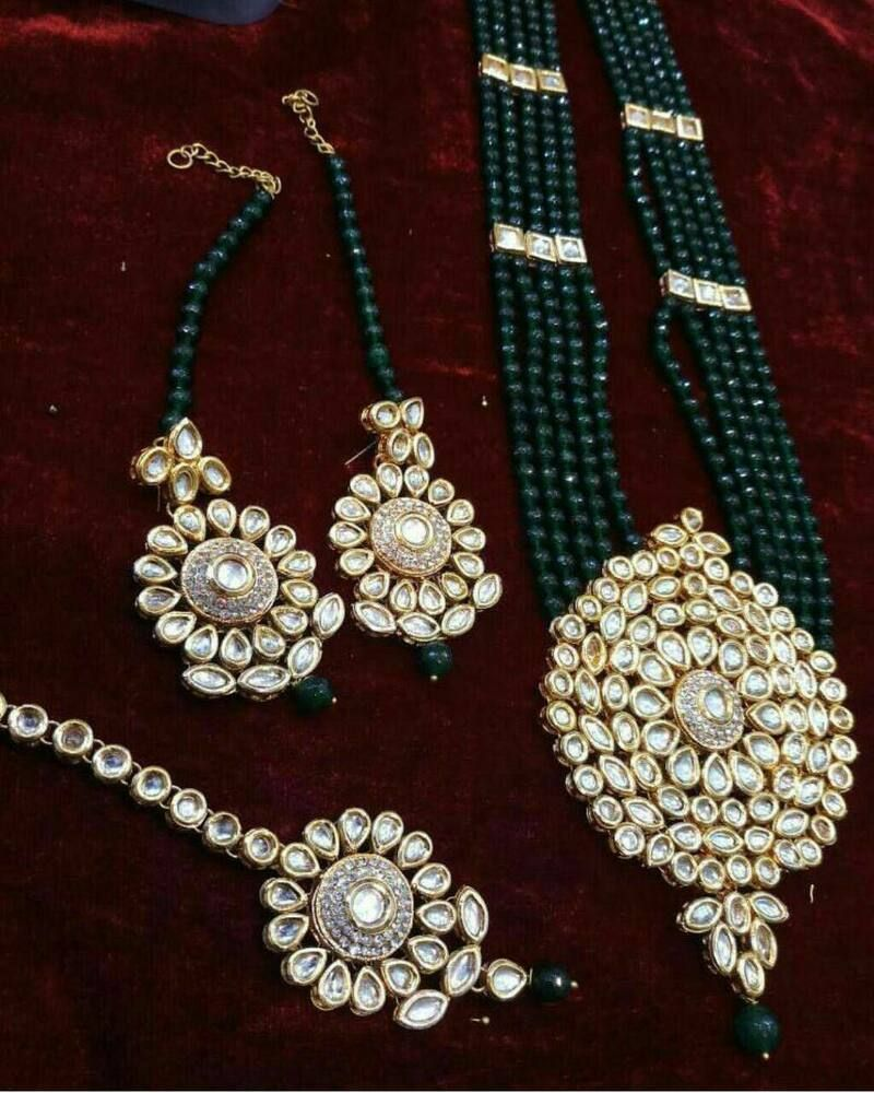 Indian Gold Plated Green Pendant Necklace Earrings Set Women Bollywood Jewelry