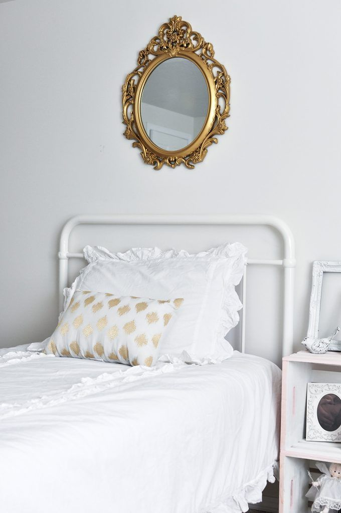 Feminine Vintage Chic Bedroom for a Big Girl is part of Big bedroom Chic - This gorgeous white Feminine Vintage Chic Bedroom is perfect for any little girl who wants to feel like a big girl with touches of pink and gold