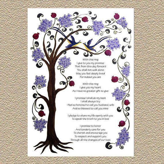 tree of life portrait wedding vows or ketubah print - Ehegelubde Beispiele