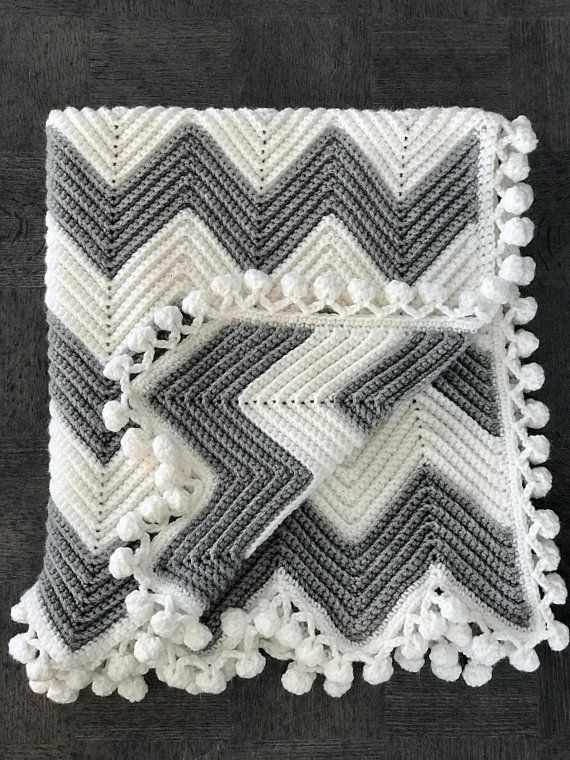Photo of Items similar to White and Grey Chevron Crochet Baby Blanket on Etsy
