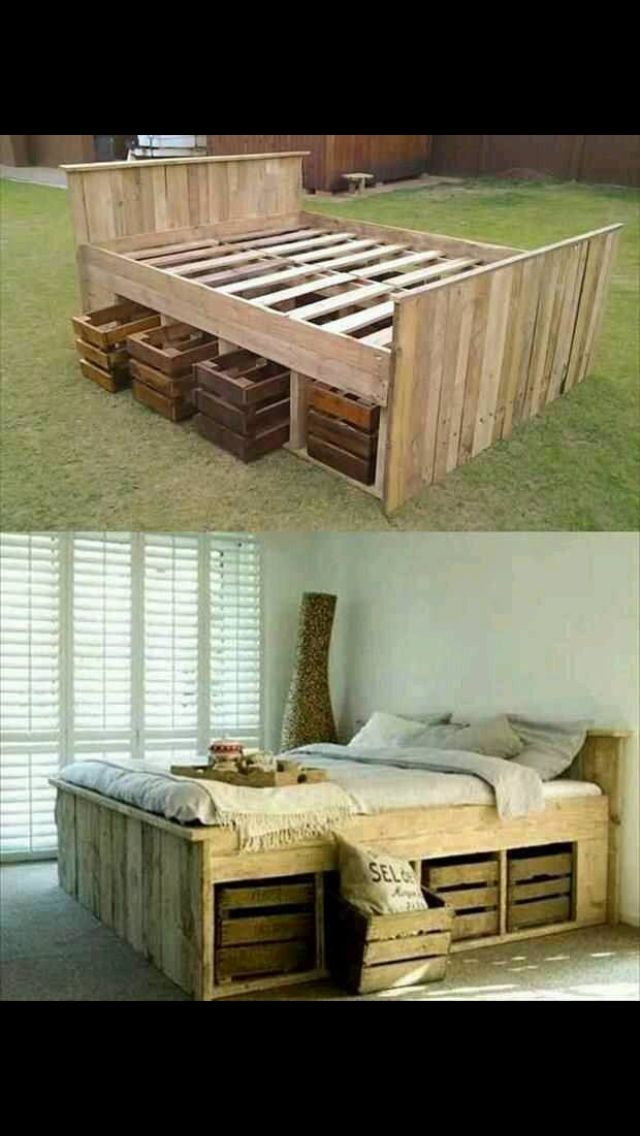 Exceptional Bed Made From Pallets. Storage ...
