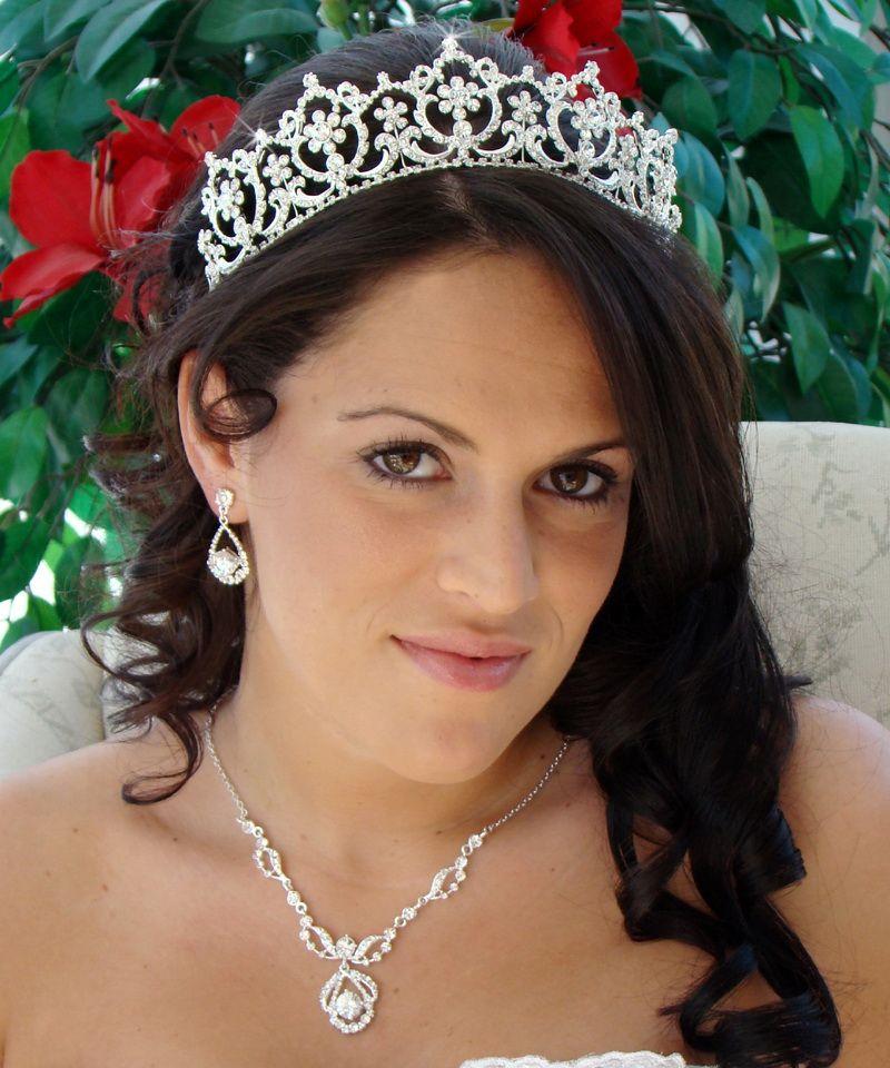 Matching Regal Bridal Tiara Jewelry Set HP 13091 NE 8265