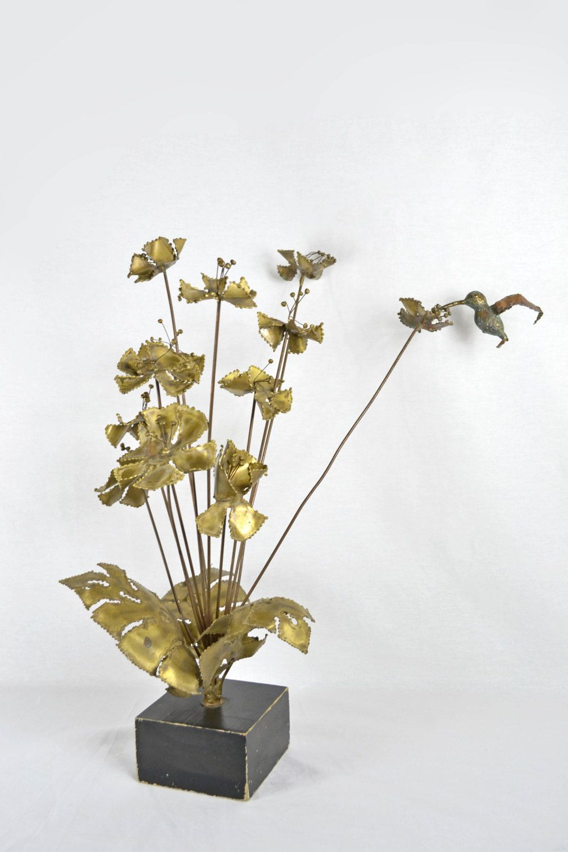Brass brutalist sculpture of flowers and hummingbird signed bijan by