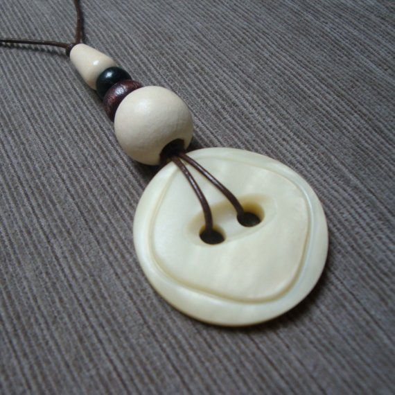 white CHOCOLATE vintage lucite button necklace  very old coat
