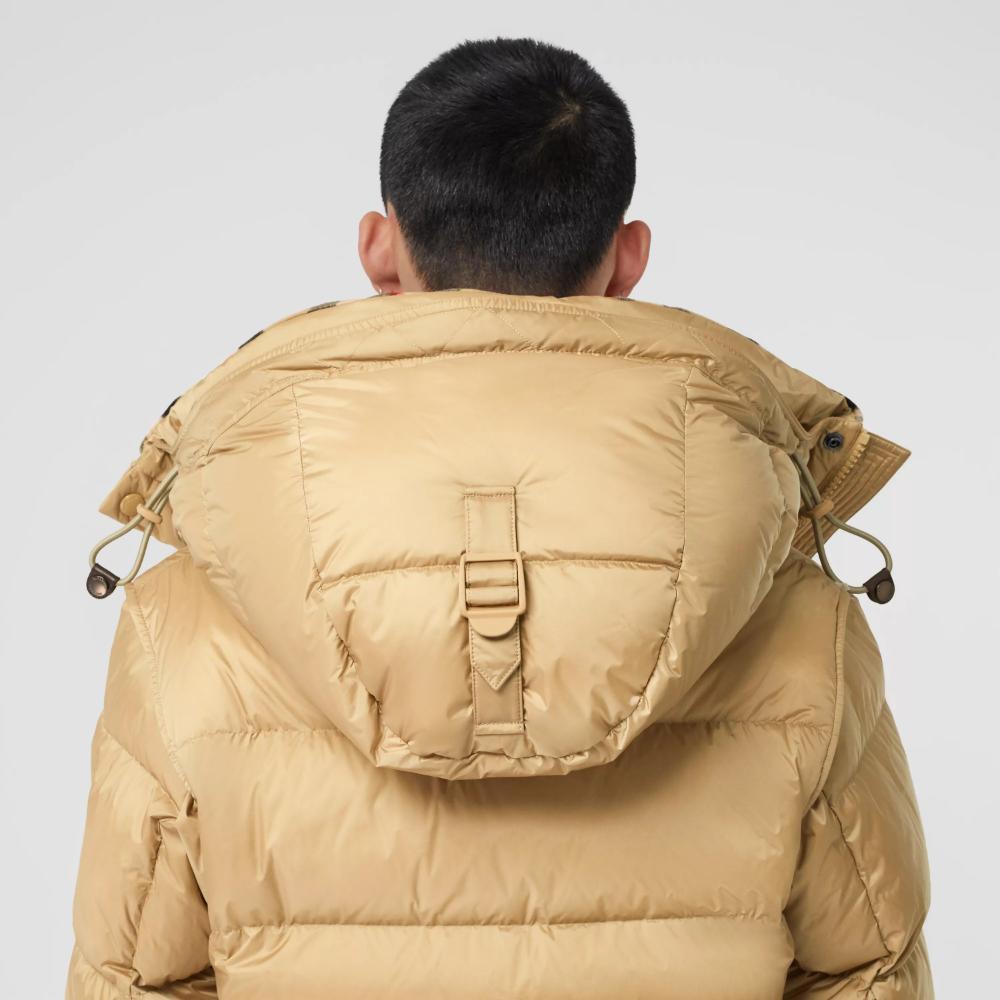 Detachable Sleeve Hooded Puffer Jacket In Honey Men Burberry Burberry Burberry Gifts Jackets [ 1000 x 1000 Pixel ]