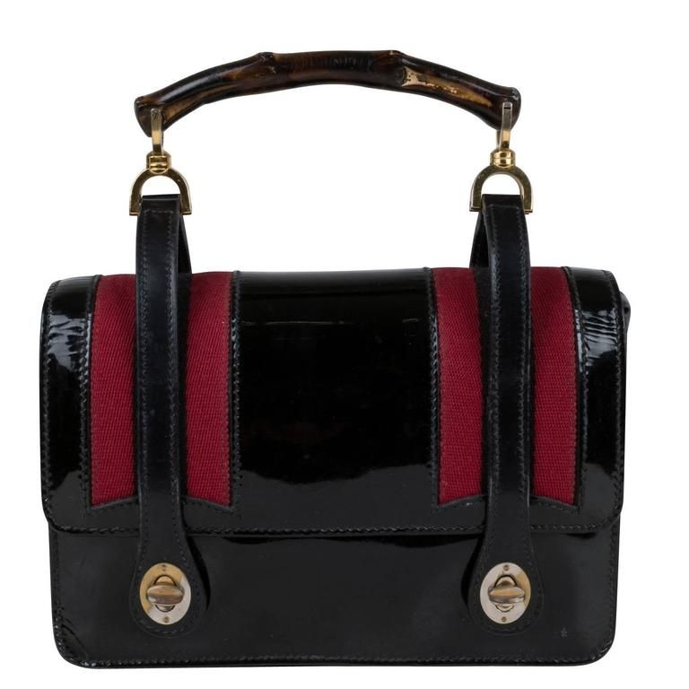 9e859935c409 1960's Gucci Black Patent Leather and Bamboo Lunch Box Bag | Vintage ...