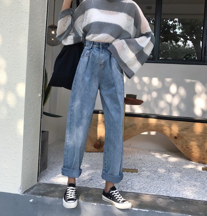 US $21.56 |2018 New Elastic Waist Woman Denim High Waist Casual Pockets Oversize Loose Jeans Vintage Bleached Curl Wide Leg Pants|Jeans| - AliExpress