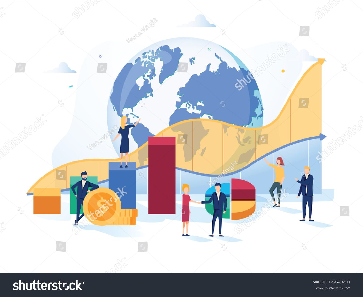 Stock Market Vector Illustration Flat Mini Money Growth Persons Concept With Positive And Succ Vector Illustration Creative Poster Design Cloud Infrastructure
