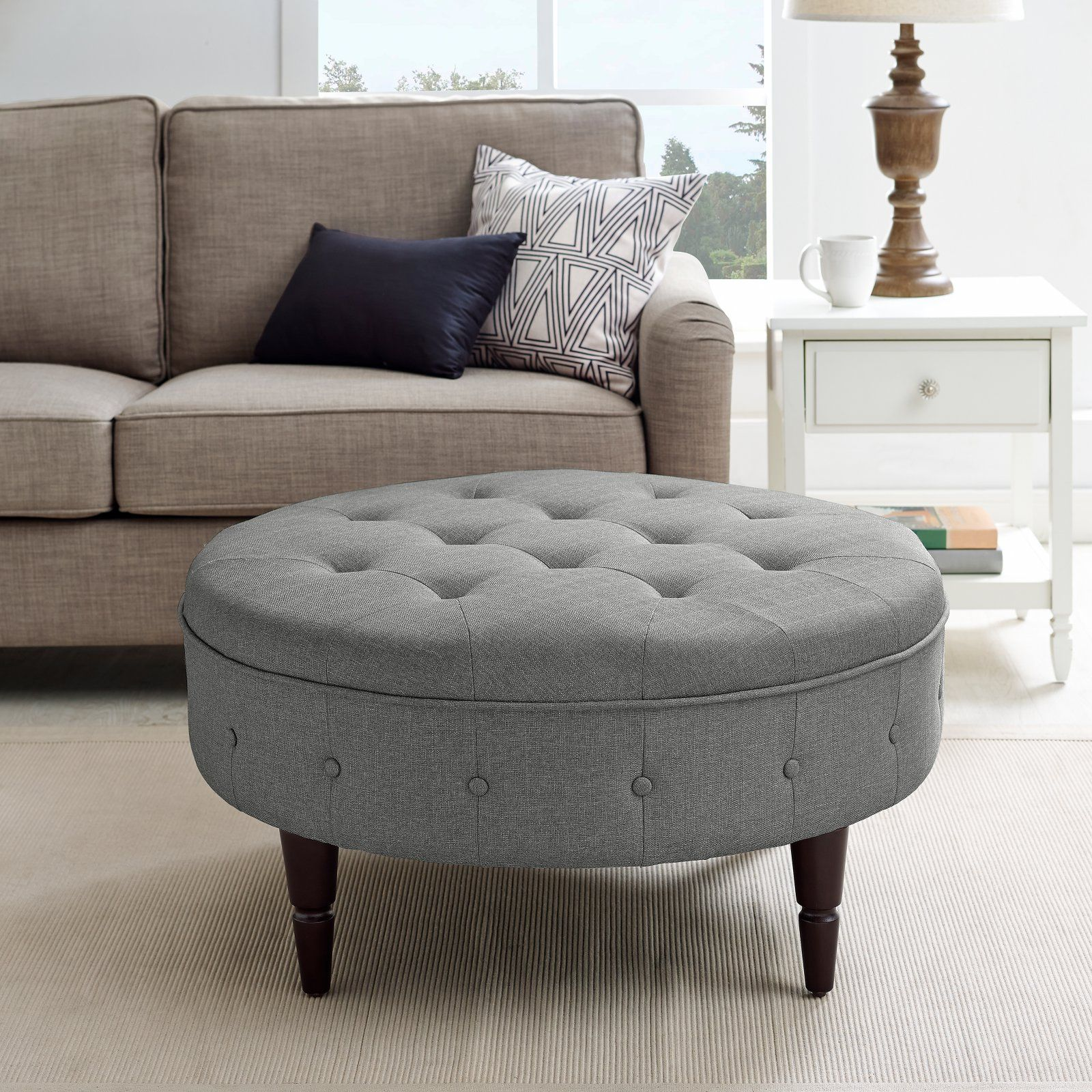 Better Homes Gardens Upholstered Button Tufted Round Ottoman