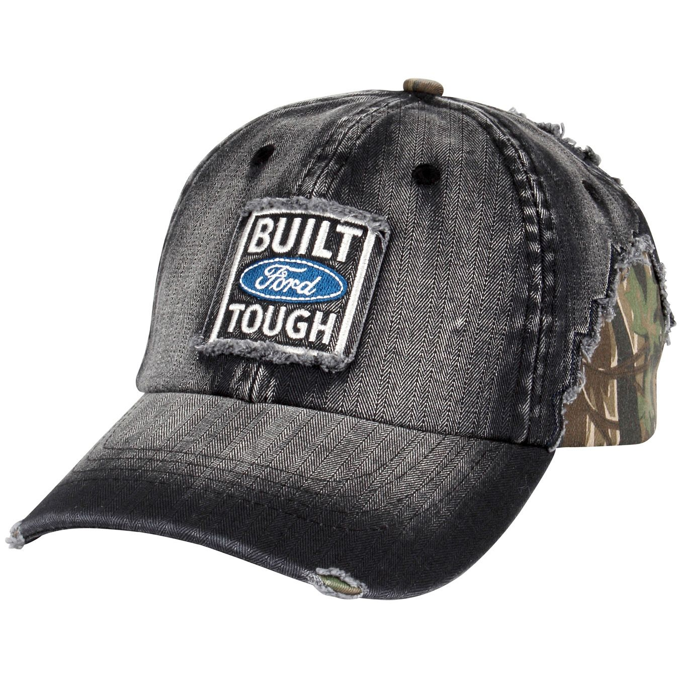 0eab8caf779 Distressed visor and panels. Sewn eyelets and adjustable Velcro® closure.  Built Ford Tough patch center front.