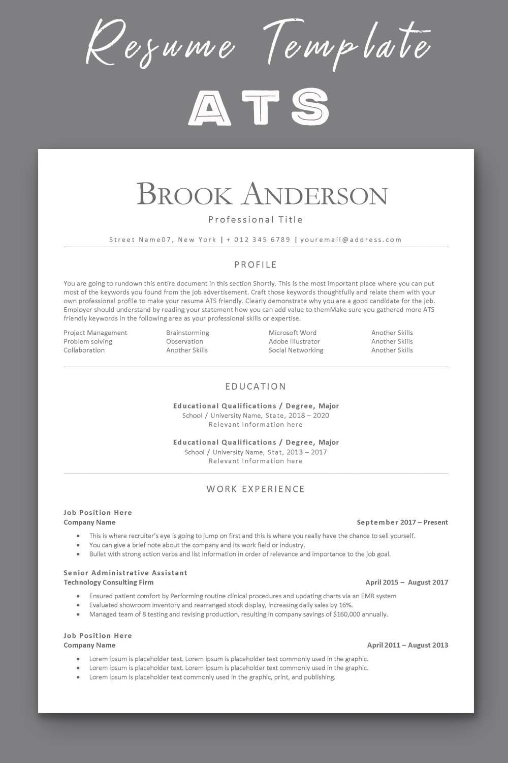 Ats Compatible Resume Template Applicant Tracking System Etsy Resume Template Resume Template Professional Professional Resume